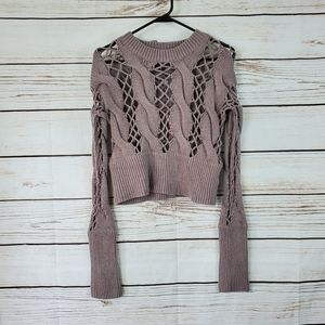 Nasty Gal | Taupe Open Cable Knit Cropped Sweater